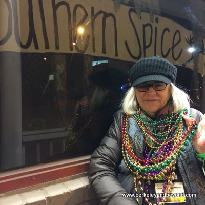 LOUISIANA-LAKE CHARLES-Krewe of Krewes' Parade-Southern Spice-Carole in beads 2-c2016 Paul Lasley-iPhone-400pix
